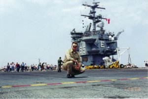 Chief Journalist Mark Piggott aboard USS Enterprise (CVN 65) circa 2002.