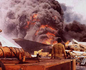 Fire erupted aboard the aircraft carrier USS Forrestal (CV 59) on July 29, 1967.